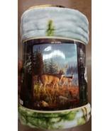 Deer in the Wild American Heritage Woodland Royal Plush Raschel Throw bl... - $23.75