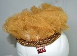 Vintage MISSY ARNOLD Crown Hat Bronze Rhinestone Netting Trim - $25.74