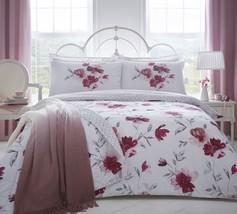 Grand Style Aquarelle Fleurs Rouge Rose Mélange de Coton - $56.04