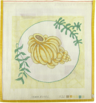 Vintage 70's Jean Etiel Hand Painted Needlepoint Bright Yellow Sea Shell... - $30.33
