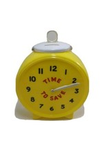 Time To Save Piggy Bank Clock Face Yellow movable arms Plastic bank - $37.50
