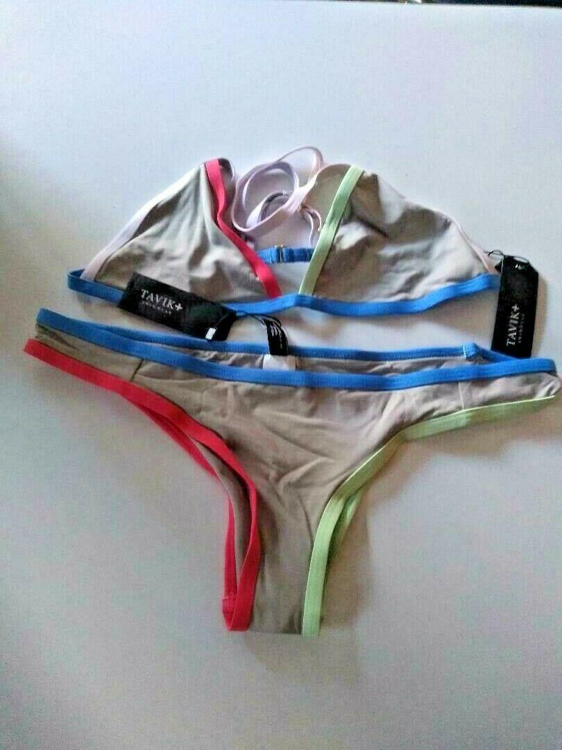 Tavik Color Blocked Sand Triangle Moderate Bikini Set Size Large