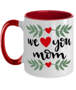 We Heart You Mom, Mother's Day - 11 oz Red Two-Tone Coffee Mug  - £12.77 GBP