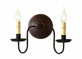 Rustic Countryside Double Candlesticks Ashford Wall Sconce in Pearwood C... - $128.95