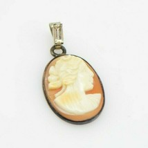 Sterling Silver Shell Cameo Pendant Clear Rhinestone Bezel Antique - $49.49