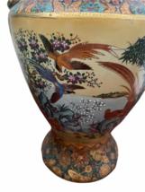 "Vintage 18"" Japanese Two Gold Gilt Handle Satsuma Vase Jug Japan Marked image 2"