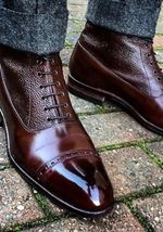 Handmade Men's High Ankle Lace Up Leather Boots image 4