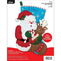Bucilla 'Santa and Reindeer' Jumbo  Felt Christmas Stocking Stitchery Ki... - $45.99