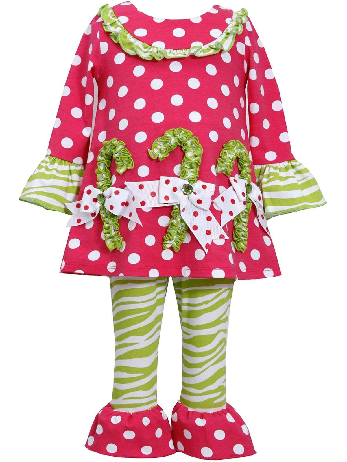 Rare Editions Little Girls 2T-6X Pink/Green Holiday Grinch Knit Top/Legging Set