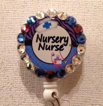 Nursery Nurse Badge Reel Id Holder Swarovski Purple Blue Alligator Handm... - $10.99