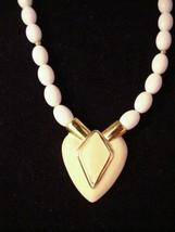 "Classic Vintage signed Napier Heart Necklace Goldtone Cream white 23"" - $29.99"