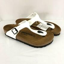 Birkenstock Womens Gizeh Sandals Thong Birko-Flor Slides White Size 39 US 8 - $62.88