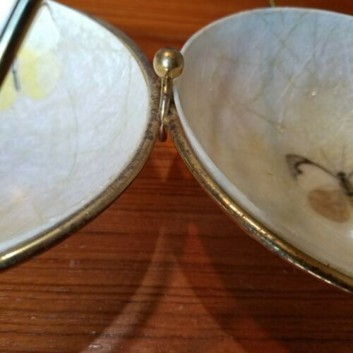 Vintage Fiberglass Butterfly Gold Threads Double Bowl w/ Stand Mid Century MCM