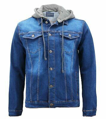 Boy's Kids Button Up Removable Hood Slim Fit Stretch Denim Jean Jacket w/ Defect