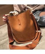 Brand design luxury ladies bucket PU shoulder bag single shoulder large capacity - $44.99