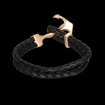 Genuine Leather Fish Hook Wrap Cuff Rope Mens Womens Bracelet Wristband ... - $11.75