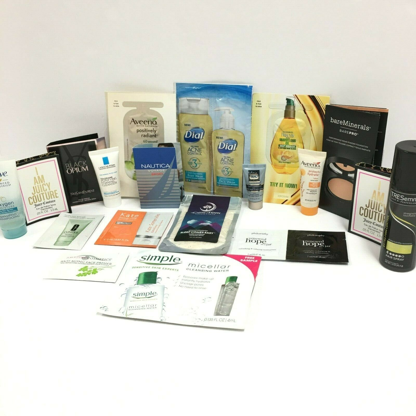 Lot of 22 Travel Size Cosmetics | Clinique, TRESemme, Dove, Aveeno, and More! - $17.56