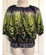 Allen B. Multi -Color 3/4 Sleeves Polyester Blouse Size M Peasant Purple... - $13.99