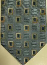 NEW $165 Ermenegildo Zegna Light Blue With Gold and Dark Blue Squares Ti... - $70.19
