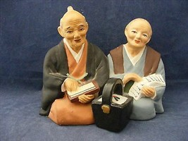 Hand Painted Japanese Bisque Figurines Chalkware? Elderly Man & Woman Ho... - $8.00