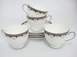 Wedgwood Medici R4588 Footed Cup and Saucer Lot of 4 Tan Shells Black Ba... - $74.24