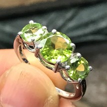Natural 2ct Apple Green Peridot 925 Solid Sterling Silver 3-Stone Ring sz 6 - $59.39