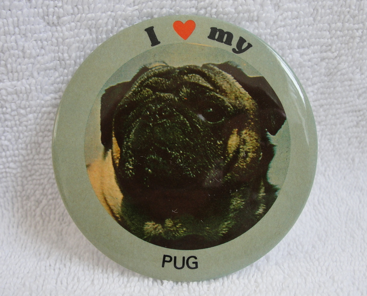 Pinback Button I Love My Pug 1980s Vintage Red Heart