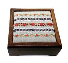 Vintage Walnut Jewelry Box Finished Needlepoint Art Sudberry House Uniqu... - $44.99