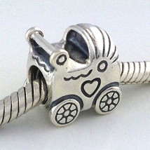 Authentic Pandora Retired Baby Carriage Sterling Silver Bead Charm 79034... - $32.29