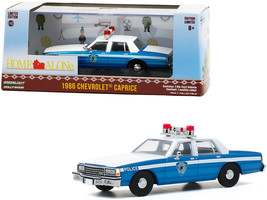 "1986 Chevrolet Caprice Blue and White Police Car ""Home Alone\"" (1990) Movie 1/4 - $32.48"