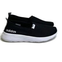 NWOT Womens 7.5 Adidas Lite Racer Slip On Shoes Black White - $34.60