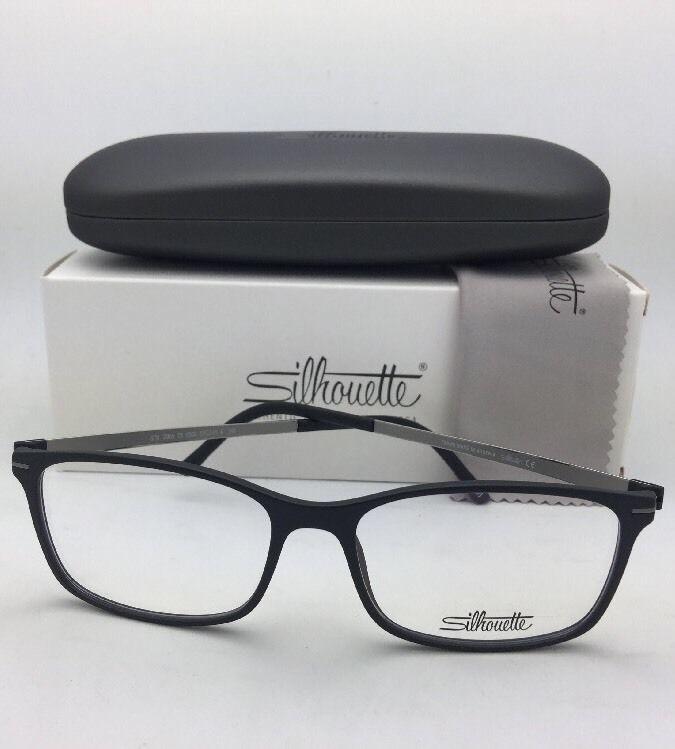 New SILHOUETTE Eyeglasses SPX 2905 75 9060 55-16 Matte Black & Gunmetal Frame