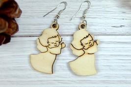 Little Angel Wood Earrings, Christmas Dangle Earrings  - $8.00