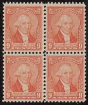 1932 Washington Bicentennial Block of 4 US Stamps Catalog Number 714 MNH