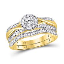 10kt Yellow Gold Round Diamond Bridal Wedding Engagement Ring Band Set 1/2 Ctw - $1,299.00