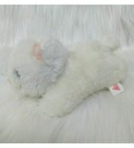 "7"" Dakin White Kitten Cat Laying 1991 Peach Nose Ears Furry Soft Plush T... - $15.29"