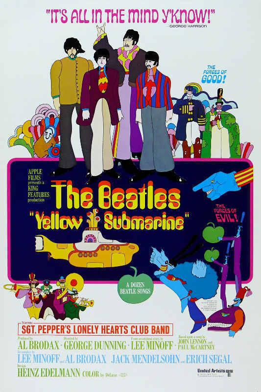 Beatles yellow submarine movie poster 27x40 inches