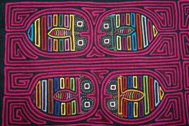 Kuna American Indian Textile Hand stitched Mola Applique Art Lady bug Ma... - $66.49