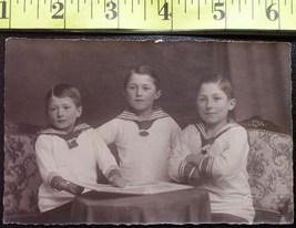 Three Sailor Boys Photo Post Card Early 1900`S Wow! - $4.00