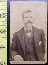 CDV Carte De Viste Photo Moustached Man Graphics! c.1859-80  - $3.20