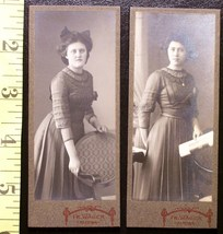 Cabinet Card Lot (2) Pretty German Sisters! c.1880-90 - $5.60