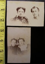 Cabinet Card Lot (2) Pretty Curly Haired Sisters! c.1890`s - $3.00