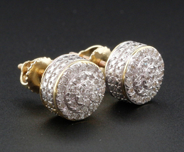 Brilliant Round Cut Diamond Stud Earrings 14k Yellow Gold Plated 925 Pure Silver - $95.60