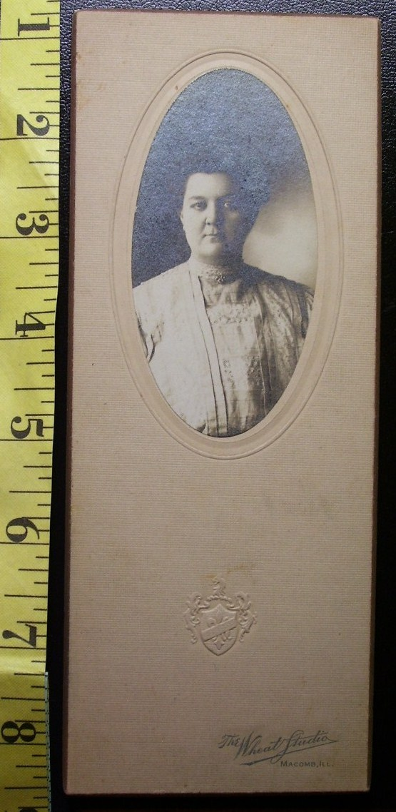 Cabinet Card Portly Lady Oval Style Studio Info! c.1890-1910