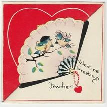 Vintage Valentine Card Bluebirds in Hat Fan Die-Cut 1920's - $7.91