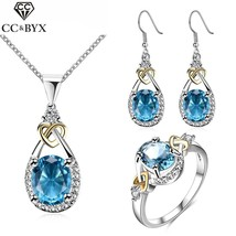 Blue Stone Vintage Bridal Earring And Necklace Sets Cubic Zirconia Weddi... - $24.78
