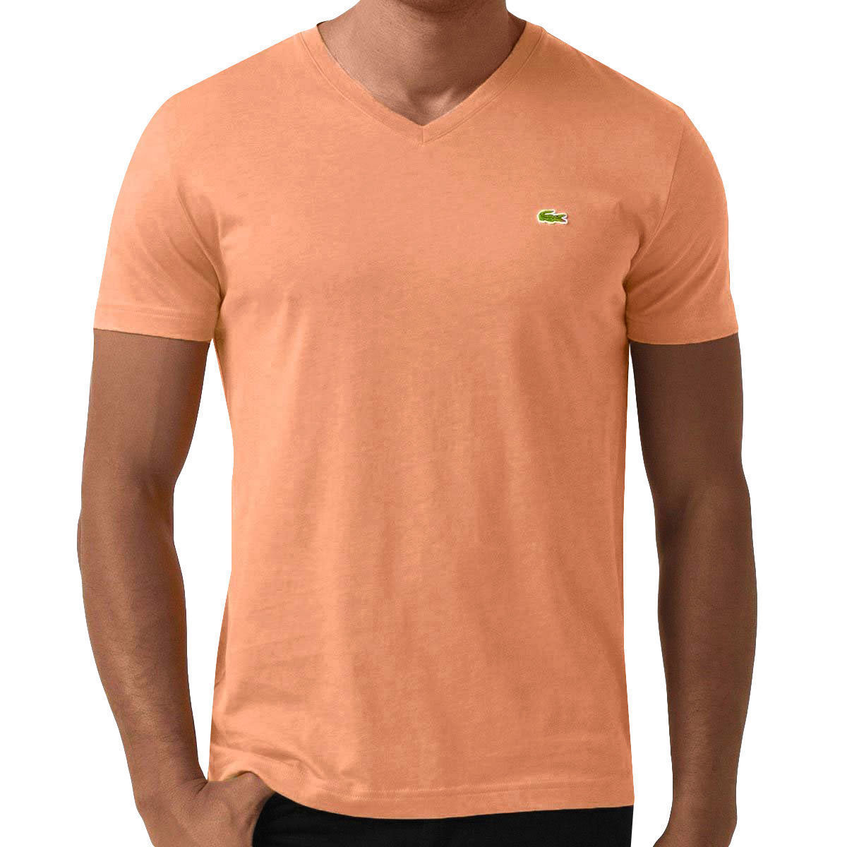 Lacoste Men's Sport Premium Pima Cotton V-Neck Shirt T-Shirt Pumpkin Orange