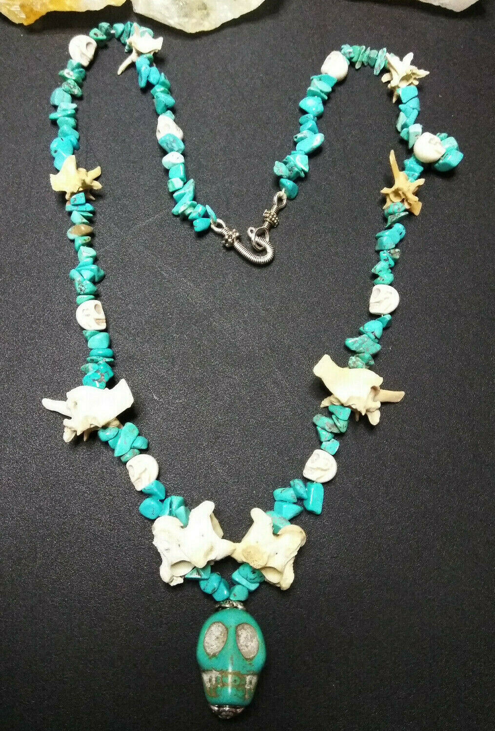 Primary image for Necklace with Howlite Skulls Rattle Snake Bones Turquoise Wicca Hodoo Goth