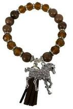 Horse Horseback Riding Brown Glass & Stone Bead Tassel Stretch Bracelet Jewelry - $15.83