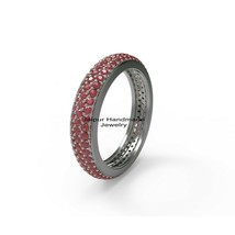 925 Sterling Silver Ruby Gemstone 3 line Woman Band Ring Enhance Jewelry - $382.64